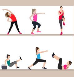 Women doing aerobic exercises vector