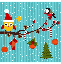 Birds are celebrating Christmas in the forest vector image vector image