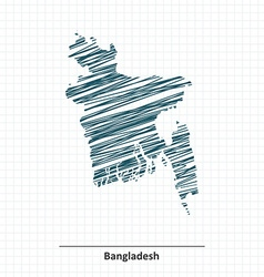 Doodle sketch of Bangladesh map vector image vector image