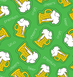 Hand drawn beer patch icon seamless pattern vector image vector image