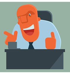 Happy boss pointing and giving thumbs up vector image