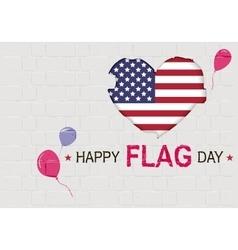 Happy USA Flag day American Heart symbol vector image