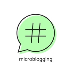outline hashtag icon in green speech bubble vector image vector image