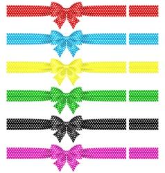 Polka dot bows with ribbons vector image