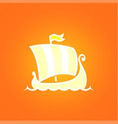 scandinavian drakkar on orange background vector image