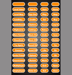 set of text game buttons in flat style vector image