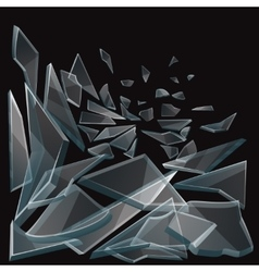 Broken glass pieces flow vector image