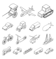 different types of transport outline icons in set vector image vector image