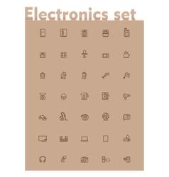 domestic electronics icon set vector image vector image
