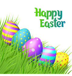 easter eggs on white background vector image vector image