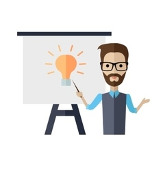 Lecturer Making a Presentation Near Whiteboard vector image vector image