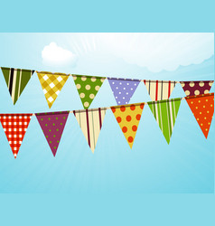 vintage colorful bunting over sky background vector image vector image
