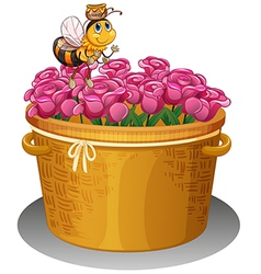 A bee with a pot of honey flying above the basket vector image