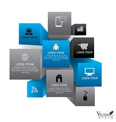 Cube box for business concept with icons Modern vector image