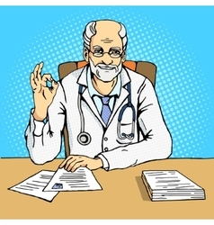 Doctor shows gesture Ok comic book vector image vector image