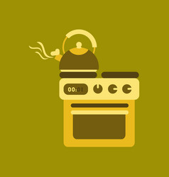flat icon on background coffee kettle stove vector image