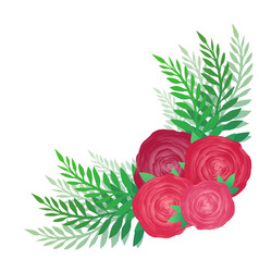flower angular pattern with roses and leaves vector image