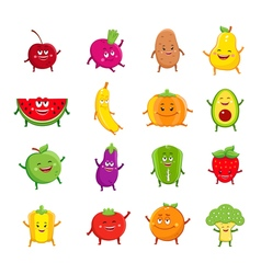 Funny fruits and vegetables characters cartoon set vector image vector image
