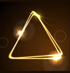 glowing orange neon triangle background vector image vector image