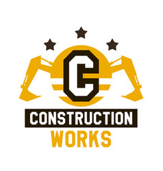 Logo of construction work the letter in the vector