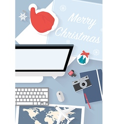 Preparing for holiday travel on chistmas vector image