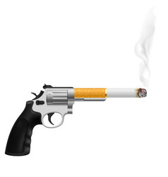revolver with a cigarette on white vector image