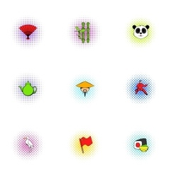 Stay in China icons set pop-art style vector image