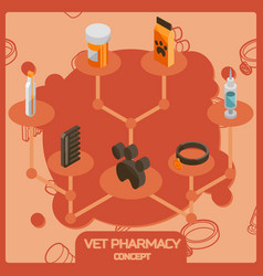 vet pharmacy color isometric concept icons vector image