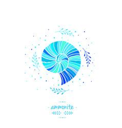 with ammonite sea theme vector image vector image