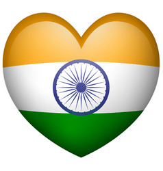 flag of india in heart shape icon vector image vector image