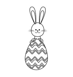 Happy easter rabbit decoration party line vector