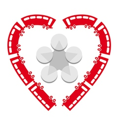 Heart shaped trains vector image vector image