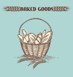 vintage baked goods basket vector image vector image