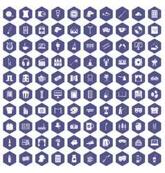 100 leisure icons hexagon purple vector