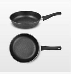 3d realistic black empty frying pan icon vector