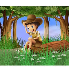 A boy sitting at the log vector