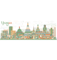 abstract yangon skyline with color buildings vector image