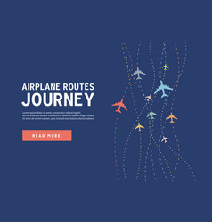 airplane line path airplane routes journey vector image