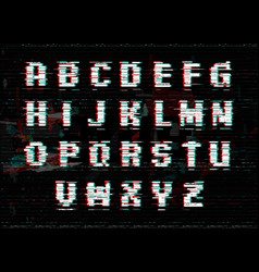 alphabet with glitch and noise effect perfect vector image