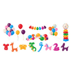 Animal balloons cartoon kids party helium spheres vector