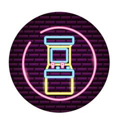 Arcade machine video game neon vector