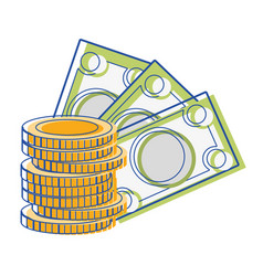 Bills and coins cash moey currency vector