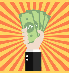 Businessman is holding money vector