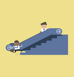 Businessman on escalator and climbing stairs vector