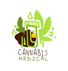 cannabis medical label logo graphic template vector image