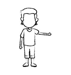 Cartoon boy kid hand gesture image vector