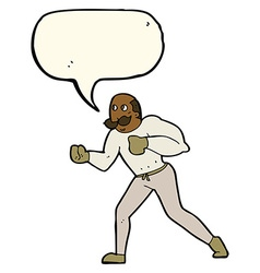 cartoon retro boxer man with speech bubble vector image