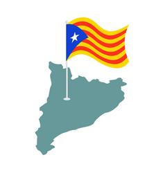 catalonia flag and map estelada blava banner vector image