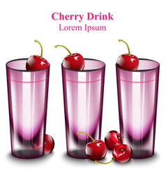 cherry cocktail drinks pink glasses vector image