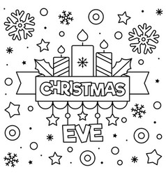 christmas eve coloring page black and white vector image